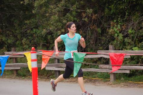 Kate Papadopoulos running to the finish line at the Dipsea race, 2015. Photo by Bev Zanetti