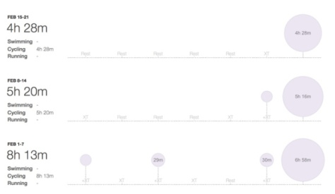 February – No Running. Weeks in ascending order chronologically. Source: Strava.com